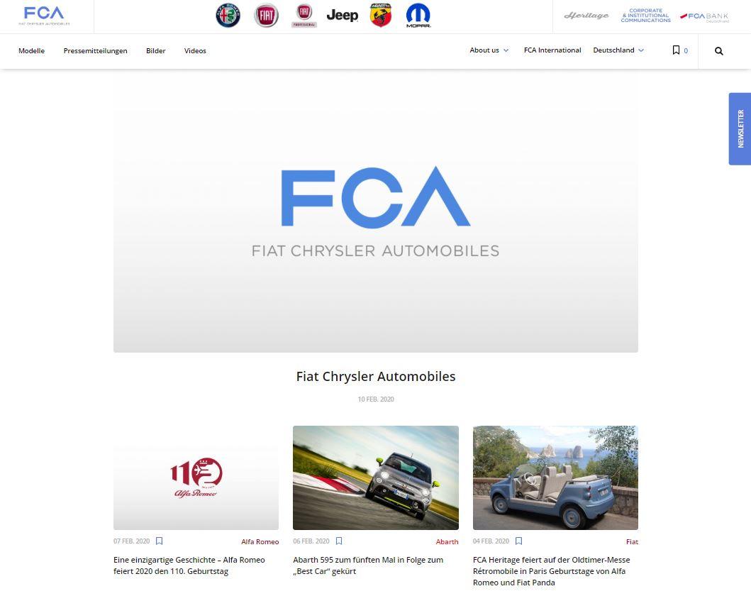 Relaunch für Pressewebsite der FCA Germany AG