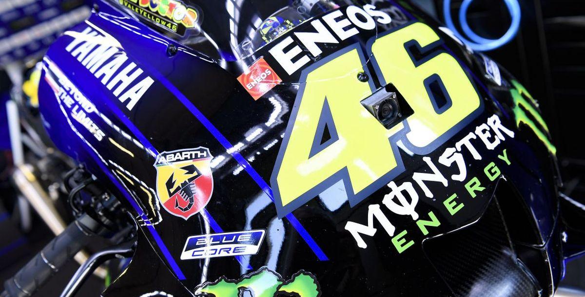 """Abarth """"on track"""" mit Maverick Viñales und Valentino Rossi und ihren Yamaha YZR-M1 bei der MotoGP in Misano Adriatico"""