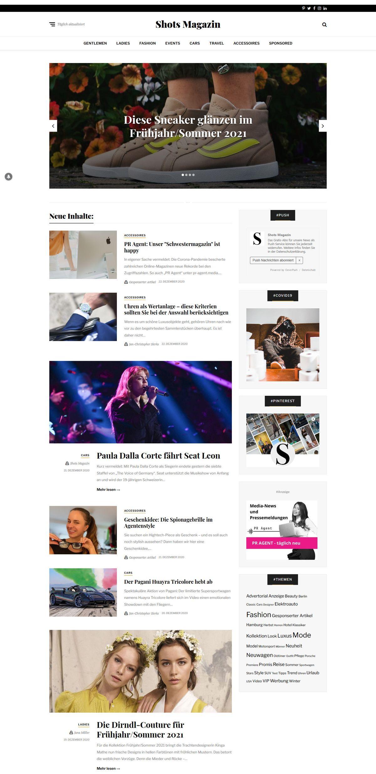 Coronakrise: Shots Magazin weiterhin mit reduzierten Online-Advertorials